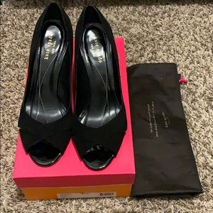 Copa Black Suede Kate Spade Open Toe Wedge Size8.5